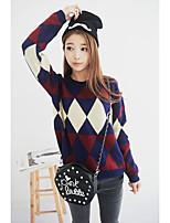 Damen Standard Pullover-Lässig/Alltäglich Einfach Geometrisch Blau Rundhalsausschnitt Langarm Baumwolle Frühling Mittel