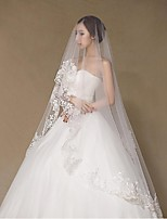 Wedding Veil One-tier Chapel Veils Lace Applique Edge Tulle / Lace White