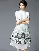 Women's Plus Size / Casual/Daily Chinoiserie Loose Dress,Floral Stand Midi ½ Length Sleeve White Linen Spring