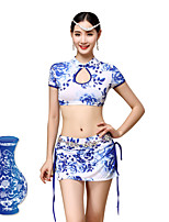 Belly Dance Outfits Women's Training Chinese Style Viscose  blue and white Pattern/Print / Pleated 2 Pieces Blue