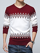 Men's Color Block Casual / Work Pullover,Cotton / Acrylic / Polyester Long Sleeve Black / Blue / Red 916331