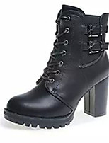 Women's Boots Fall / Winter Fashion Boots PU Casual Chunky Heel Lace-up Black / Gray Others