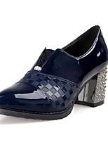 Черный / Синий / Красный-Женский-Для офиса / На каждый день-Лакированная кожа-На толстом каблуке-На каблуках / С острым носком-Обувь на