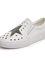 Mujer-Plataforma-Creepers-Zapatos de taco bajo y Slip-Ons-Casual-Semicuero-Negro / Blanco