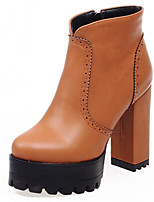 Women's Boots Spring/Fall/Winter Heels/Platform/Bootie/Round Toe Casual Chunky Heel ZipperBlack/Brown/Red