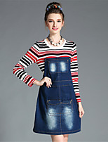 AOFULI Winter Women Plus Size Fashion Casual Stripe Patchwork Denim Fake Two Piece Dress