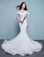 Trumpet / Mermaid Wedding Dress Court Train Off-the-shoulder Lace with Appliques