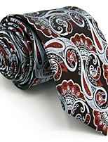 Men's Necktie Tie For Men 100% Silk Wine Gray Paisley Extra Long Wedding