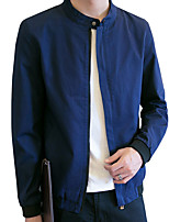 Men's Long Sleeve Casual / Work / Formal / Sport / Plus Sizes Jacket,Polyester Solid Black / Blue / Red / Yellow
