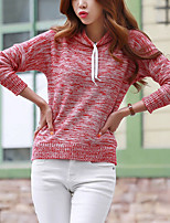 Женский На каждый день Уличный стиль Обычный Пуловер Однотонный,Красный / Серый Капюшон Длинный рукав Акрил Осень Средняя