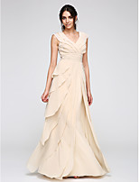 TS Couture® Formal Evening Dress Sheath / Column V-neck Floor-length Chiffon with Ruching