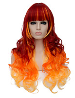 vogue européen à long sythetic l'orange ombre Bang bouclés propre perruque de parti pour les femmes