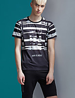 Men's Print Casual T-ShirtCotton Short Sleeve-Black