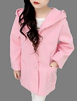 Girl's Casual/Daily Solid Trench CoatCotton Winter / Spring / Fall Pink / Red
