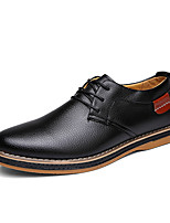 Men's Oxfords Spring Summer Fall Comfort Leather Casual Flat Heel Lace-up Black Blue Brown Others