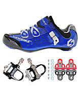 03 Cycling Shoes Unisex Outdoor / Road Bike Sneakers Damping / Cushioning Black / Blue-sidebike And Black Rock Pedals