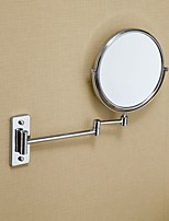 MOLI Bathroom Wall Mount 8 Inch Copper Frame Round 2-face Foldable Arm 3 x Magnification Makeup Mirror