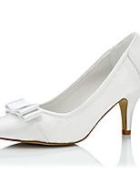 Белый-Женский-Свадьба / Для праздника / Для вечеринки / ужина-Шёлк-На шпильке-Удобная обувь-Обувь на каблуках