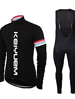 KEIYUEM® Cycling Jersey with Bib Tights Unisex Long Sleeve BikeBreathable / Thermal / Warm / Quick Dry / Dust Proof / Wearable / Back