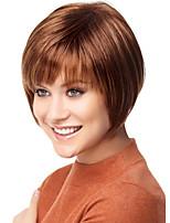 de color marrón corto pelucas rectas sin tapa pelucas sintéticas para mujeres