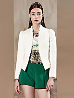 I'HAPPY Women's Work Simple Spring / Fall BlazerSolid V Neck Long Sleeve White / Green / Yellow Cotton / Polyester