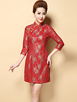 Boutique S Women's Plus Size / Casual/Daily Chinoiserie Shift DressEmbroidered Stand Above Knee  Sleeve Polyester Fall