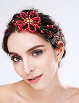 Mujer Perla Artificial / Acrílico Celada-Boda / Ocasión especial Flores 1 Pieza Rojo / Blanco