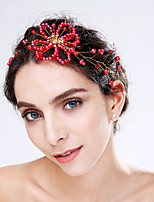 Women's Imitation Pearl / Acrylic Headpiece-Wedding / Special Occasion Flowers 1 Piece Red