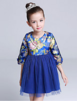 Girl's Casual/Daily Print DressCotton / Polyester All Seasons Blue