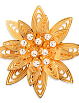 High Quality Flower Brooch 18K Gold Plated Crystal Safety Switch Brooch For Women Wedding and Party Gift X30015