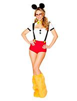 Costumes Uniformes Halloween Rouge / Blanc Mosaïque Térylène Robe / Plus d'accessoires