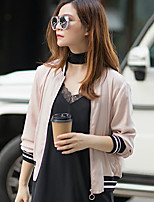 I'HAPPY Women's Casual/Daily Simple Spring / Fall JacketsSolid Crew Neck Long Sleeve Pink Polyester / Spandex Opaque