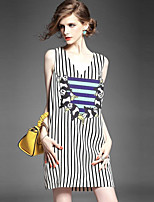 Women's Plus Size / Casual/Daily Simple Shift DressStriped / Print Shirt Collar Above Knee Sleeveless Black Polyester