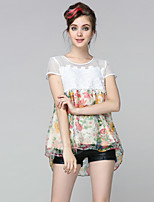DREAMY LAND  Women's Going out Cute Summer BlouseFloral Round Neck Short Sleeve White Silk Sheer