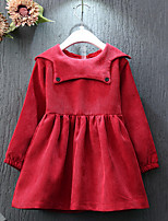 Girl's Casual/Daily Solid DressCotton / Rayon Spring / Fall Red