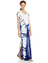 Damen Lose Kleid-Ausgehen Street Schick Druck Rundhalsausschnitt Maxi Kurzarm Blau Baumwolle Sommer Mittlere Hüfthöhe Mikro-elastisch