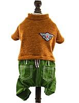 Manteaux / T-shirt / Pantalon / Combinaison-pantalon-Chat / Chien-Hiver / Printemps/Automne-Rouge / Marron / Bleu foncé-Cosplay / Noël /