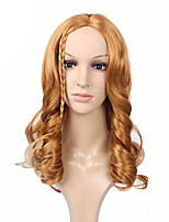 mulheres cor marrom perucas sintéticas forma de onda longa perucas europeus e americanos