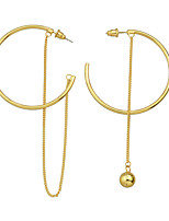 Fashion Gold Color Big Round Hoop Earrings with Long Chain
