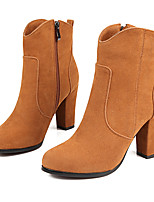 Women's Boots Fall / Winter Fashion Boots Leatherette  / Casual Chunky Heel Zipper Black / Brown / Yellow Others