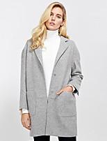 c + impressionar trabalho coatsolid simples das mulheres tiveram seu pico de lapela manga longa inverno cinza de lã / poliéster de espessura