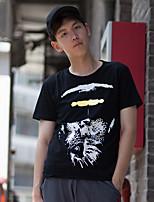 WOWTEE Masculino Decote Redondo Manga Curta Camisa Preta-WT-TX017