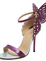 Damen-Sandalen-Kleid Party & Festivität-Leder-Stöckelabsatz-Komfort-Lila Gold Mandelfarben