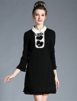 AUFOLI Plus Size Women Bead Sequins Patchwork Falbala Color Block Long Sleeve Daily Work Dress