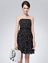 SARAH DEAN  Women's Party/Cocktail Vintage Chiffon DressPolka Dot Off Shoulder Sleeveless Mid Rise Inelastic Medium