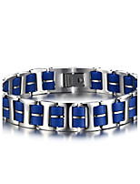 Men's ID Bracelets Jewelry Halloween/Party/Birthday/Daily/Casual Fashion Stainless Steel/Silicone /Blue 1pc   Christmas Gifts