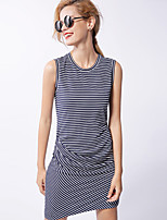 Newbefore Women's Casual/Daily Simple Sheath DressStriped Crew Neck Above Knee Sleeveless Blue