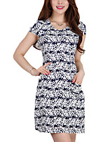 High Quality Women's Vintage / Street chic Print Plus Size / Sheath Dress,Round Neck Above Knee Cotton / Polyester