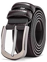 Men's Black Leather Waist Belt Straps Casual Pants Jeans Silver Wide Waist Belt Buckle