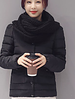 Women's Solid Pink / Red / Black / Gray / Green Padded Coat,Simple Round Neck Long Sleeve